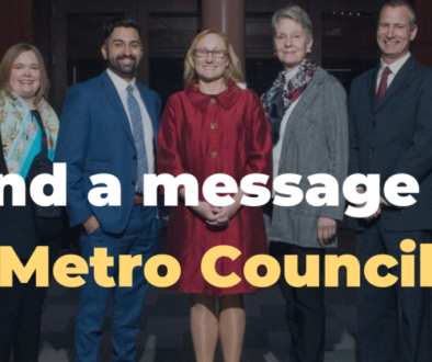 "Image of Metro Councilors with text ""Send a message to Metro Council"""