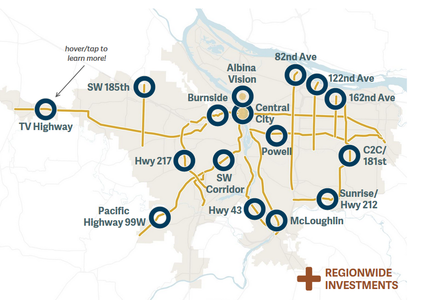 Map of Portland Metro region indicating corridors slated for investment projects.